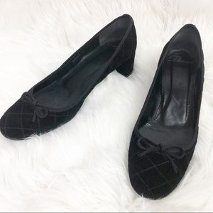 Delman Quilted Suede Bow Heels Black Size 7.5